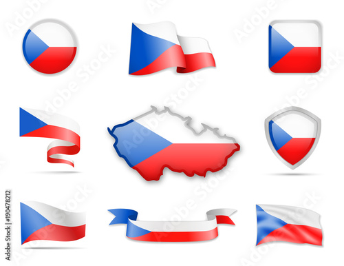 Czech Republic Flags Collection Wallpaper Mural