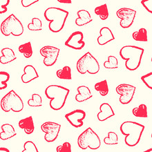 Monochrome Seamless Pattern With Cute Grunge Pink And Red Scribbled Hearts. Contrast Doodle Texture For St. Valentines Lovely Design, Textile, Wrapping Paper, Cover, Background, Wallpaper