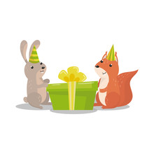Cute Hare And Squirrel In Part...