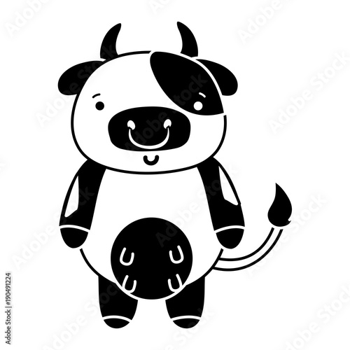 Wall Murals Bears silhouette cute and happy cow wild animal