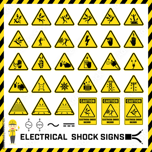 Fotografia, Obraz  Set of safety caution signs and symbols of electrical shock hazards, Labels and signs for caution messages of electrical operations