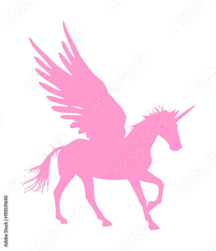 Cute Magic Unicorn Pegasus Vector Silhouette Isolated On White Background Pink Majestic