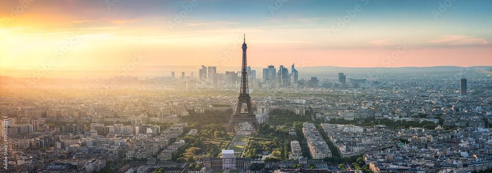 Fototapeta Paris Skyline Panorama bei Sonnenuntergang mit Eiffelturm