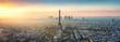 canvas print picture - Paris Skyline Panorama bei Sonnenuntergang mit Eiffelturm