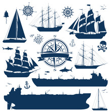 Set Of Fully Rigged Sailing Ships, Yachts And Oil Tankers Silhouettes Isolated On White Background. Nautical Design Elements Collection. Vector Illustration