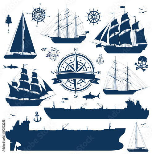 Vászonkép Set of fully rigged sailing ships, yachts and oil tankers silhouettes isolated on white background
