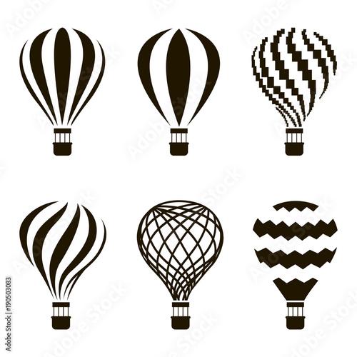 Fotografía  collection of monochrome hot air balloon icons