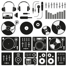 Vector Music Icon Set On White Background. Icons Of Dj Staff And Any Equipment Set. Vector Music Technology And Accessories Objects Elements Collection Design Concept