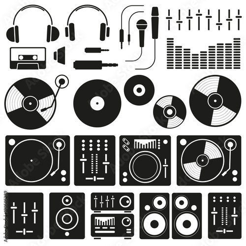 Foto  Vector Music icon set on white background