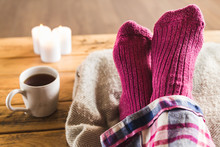Feet Up In Cozy Woolly Pink So...