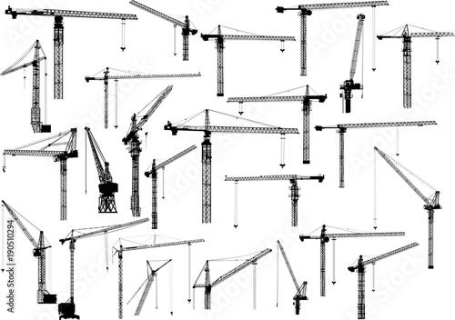 twenty five black building cranes on white Fotobehang