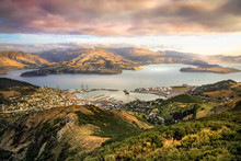 Lyttelton Harbor And Christchurch At Sunset, New Zealand