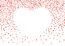 Valentines Day Border With Red Glitter Hearts. February 14th Day. Vector Confetti For Valentines Day Border Template. Grunge Hand Drawn Texture. Love Theme For Party Invite, Retail Offer And Ad.