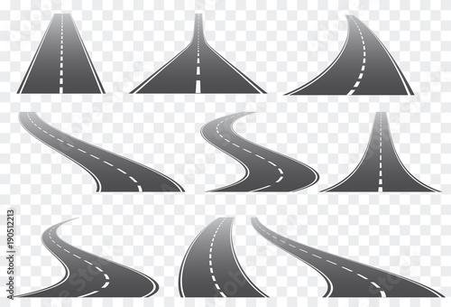 Zestaw dziewięciu dróg wektor dowcip białe znaki na przezroczystym tle. Wektor EPS 10.