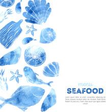 Watercolor Seafood Menu Design...