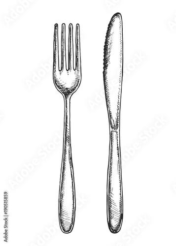 Fototapeta sketch fork and knife cutlery vector isolated obraz