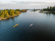 Aerial View Of A Sea Kayaking Trip On The Great Lakes
