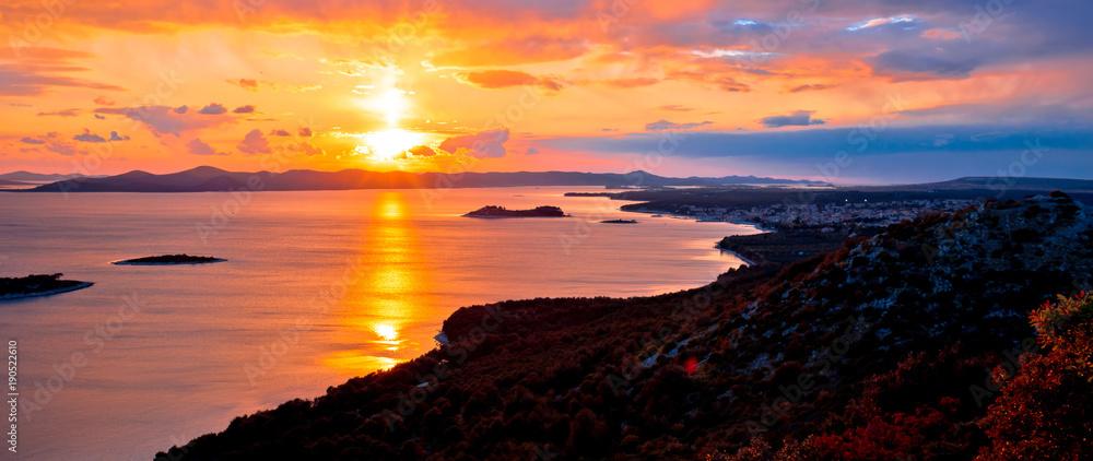 Fototapeta Amazing colorful sunset panorama of Pakostane archipelago