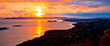 Leinwandbild Motiv Amazing colorful sunset panorama of Pakostane archipelago