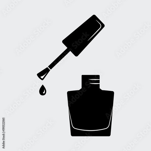 Fotografía  Nail polish, open bottle. Black silhouette. Vector illustration