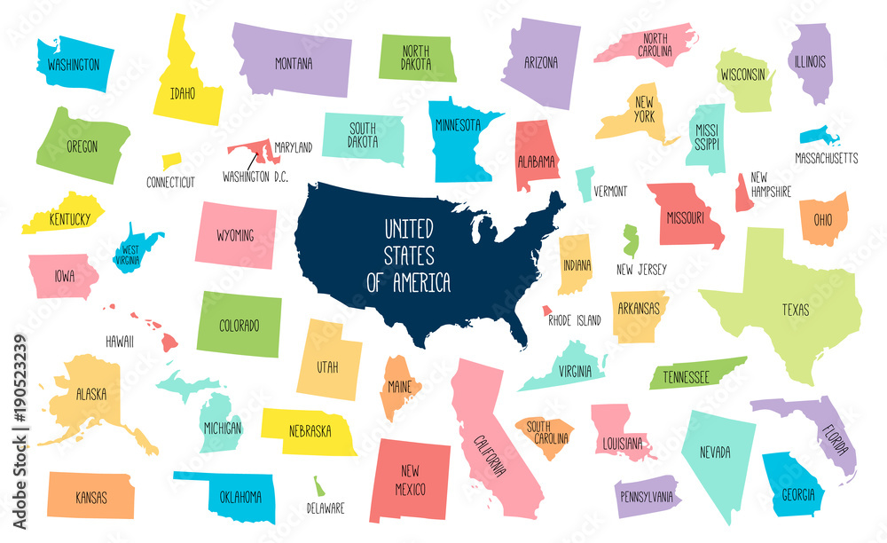 Fototapety, obrazy: USA map with separated states