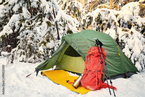 Fotografía  Walk through the winter forest with a backpack and tent.