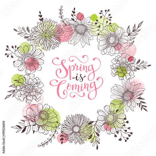 Floral Wreath With Spring Is Coming Text Romantic Template For