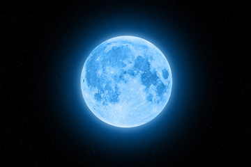 Blue super moon glowing with blue halo surrounded by small stars on black sky background