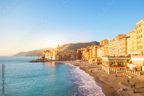 Foto op Canvas Europa Beautiful Small Mediterranean Town with the beach in the winter season It is beautiful at sunrise Or sunset time - Camogli, Genoa Italy, European travel.