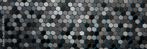Banner with pattern of many repeating hexagons with blue edges. Multi colored hexagons randomly arranged in monochrome colors. Geometric three dimensional pattern. 3d illustration.