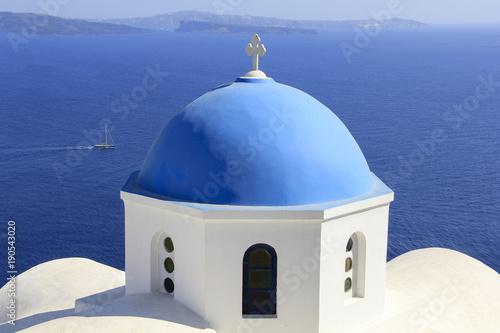 High angle view of church against sea at Santorini