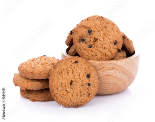 Foto op Aluminium Koekjes Chocolate chip cookie in bolwl on white background
