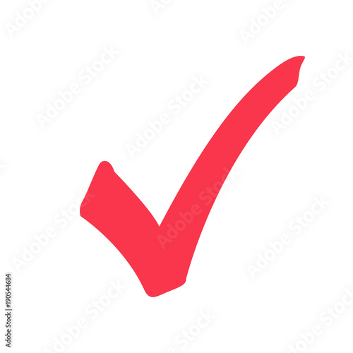 Fotografía  Tick icon vector symbol, marker red checkmark isolated on white background, checked icon or correct choice sign doodle