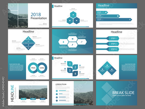 Blue Abstract Presentation Templates Infographic Elements Template