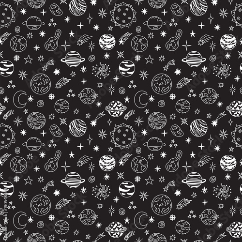 Doodle space seamless pattern. Cute hand drawn childish background. Cosmic objects set. Cartoon galaxy with comets, asteroids, stars and planets
