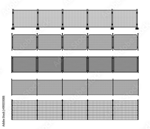 Photographie Set of different modular metal fence silhouettes