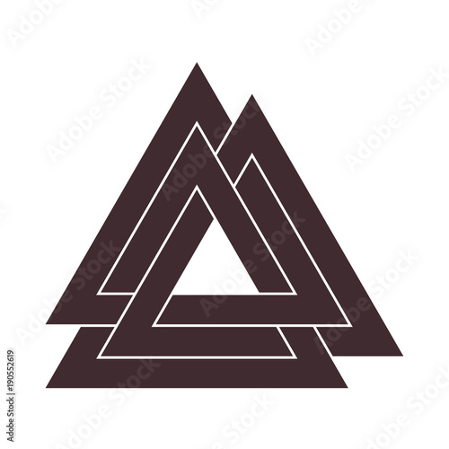 Vector triangle illustration: Valknut, the symbol of Germanic paganism, the sign of god Odin, runic knot or Hrungnir heart Poster