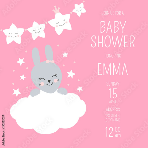 Cute Baby Shower Girl Invite Card Vector Template Pink
