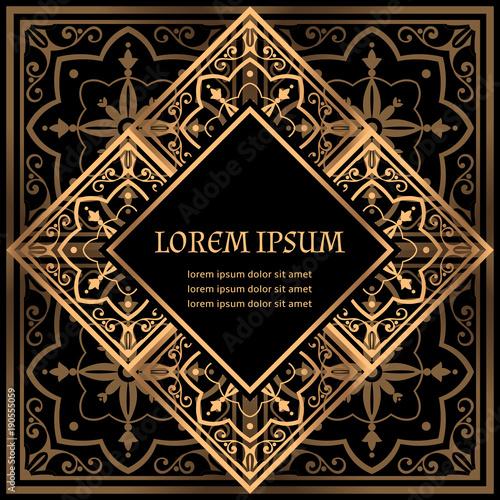 Luxury background vector. Golden royal pattern. Moroccan tile frame ...