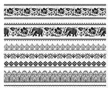 Set Of Seamless Black Ornate Borders With Pattern Brushes. Ethic Southeast Asia Style.