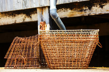 Stack Of Old Lobster Traps Rusty