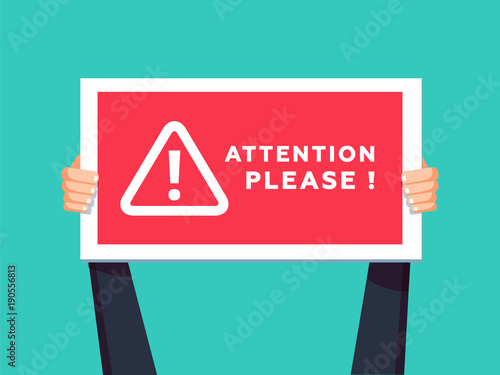 Attention please concept vector illustration of important announcement Canvas Print