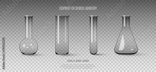 Photo  A set of flasks and test tubes isolated on a transparent background