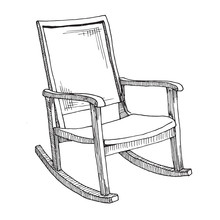 Rocking Chair Isolated On Whit...