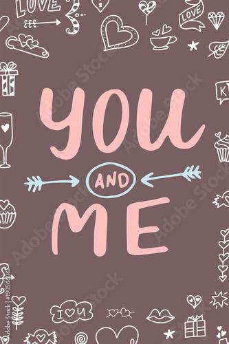 recznie-rysowany-napis-you-adn-me-na-brazowym-tle