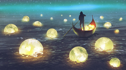 Plakat night scenery of a man rowing a boat among many glowing moons floating on the sea, digital art style, illustration painting