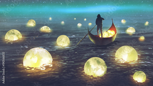 Poster Cappuccino night scenery of a man rowing a boat among many glowing moons floating on the sea, digital art style, illustration painting