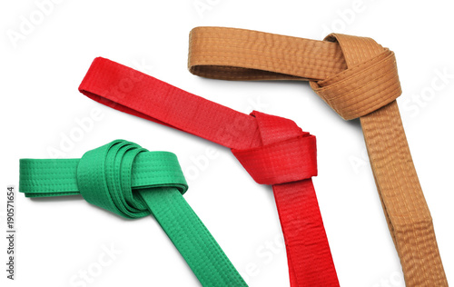 Photo Red karate belt on white background