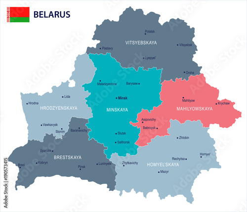 Obraz na plátně Belarus - map and flag - Detailed Vector Illustration
