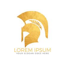 Warrior Helmet Antique Design Spartan Ancient Army Logo.